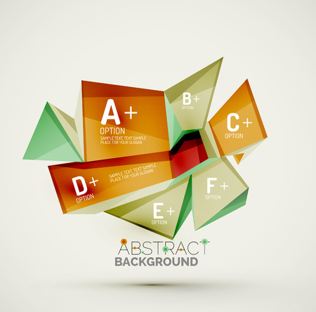 technology banner: 3d geometric shapes with sample text. Abstract template with place for text or infographic options. Triangles, squares, cubes, rectangles in glossy style. Vector illustration.