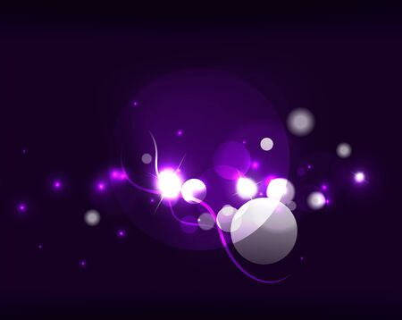 a glamour: Glowing shiny bubbles and stars in dark space. Vector illustration. Abstract background
