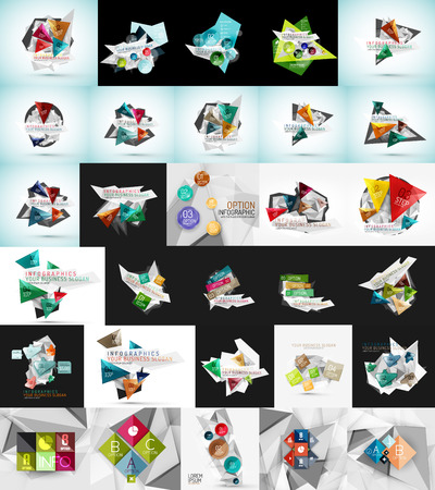 web banner: Mega set of abstract geometric web banner decorations. Vector illustration
