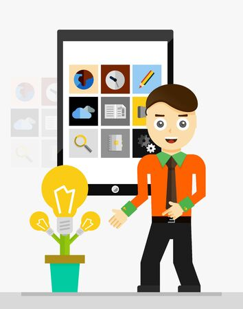 growing plant: Mobile app startup idea concept. Young businessman showing growing plant of light bulbs illustration