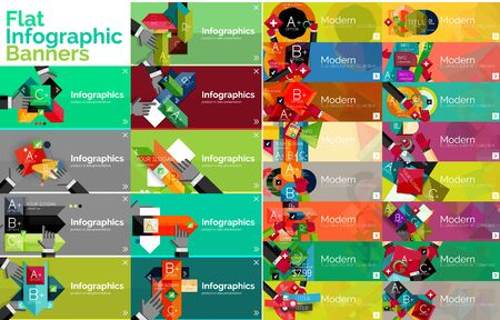 various: Mega collection of flat web infographic concepts and banners, various universal set