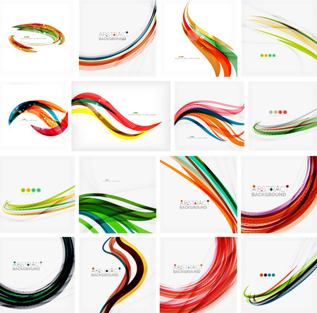 twisted: Set of abstract backgrounds. Circles, swirls and waves with copyspace