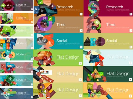 human icons: Mega collection of vector flat web infographic concepts and banners, various universal set Illustration