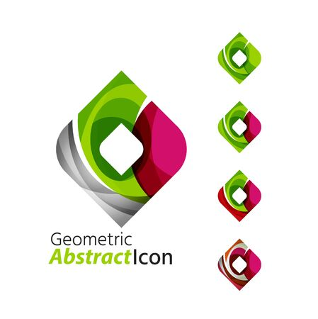rhomb: Set of abstract geometric company logo square, rhomb. Vector illustration of universal shape concept made of various wave overlapping elements