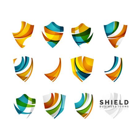 protección: Conjunto de escudo de protección logo conceptos. Color que fluye iconos del diseño de onda en blanco