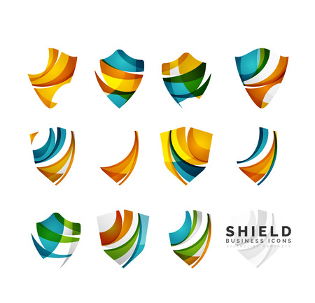 identity protection: Set of protection shield logo concepts. Color flowing wave design icons on white Illustration
