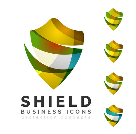 security safety: Set of protection shield logo concepts. Color flowing wave design icons on white Illustration