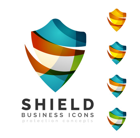 shield set: Set of protection shield logo concepts. Color flowing wave design icons on white Illustration
