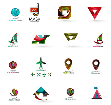 logo voyage: Set of abstract travel logo icons. Business, app or internet web symbols. Thin lines and colors with white