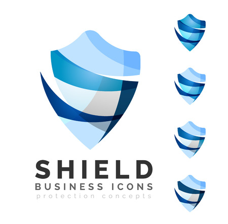 Set of protection shield logo concepts. Color flowing wave design icons on white Ilustração