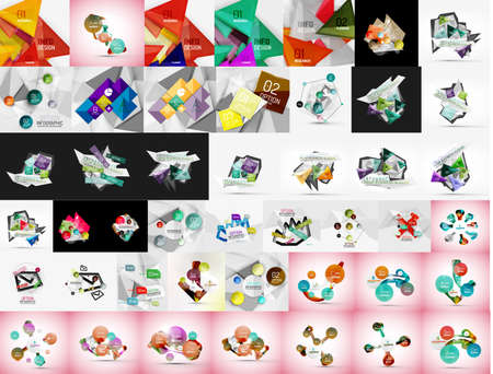 background cover: Geometric banners, templates, layouts. Paper graphics. Mega collection. Modern compositions Illustration