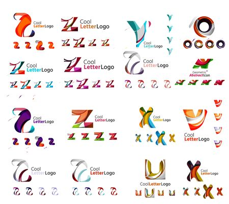 any: Vector abstract company logo mega collection, typography letters and other elements, waves, lines. Various universal icon set for any idea Illustration