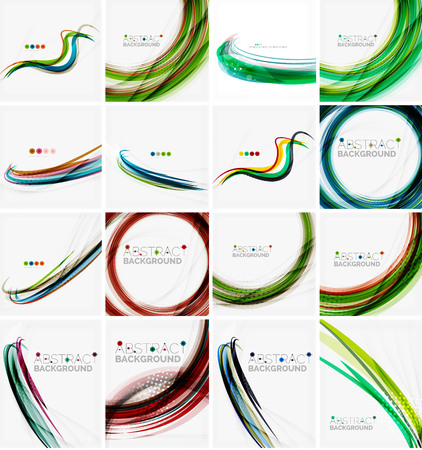 green swirl: Set of abstract backgrounds. Circles, swirls and waves with copyspace for your message. Banner advertising layouts - templates, identity and wallpapers