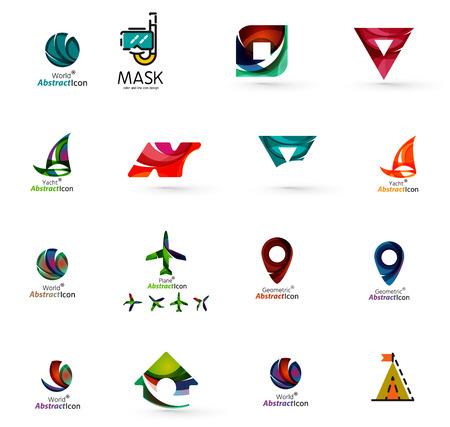logotipo turismo: Conjunto de fondos logo viajes iconos. Comerciales, aplicaciones o web de Internet símbolos. Las líneas finas y colores con blanco