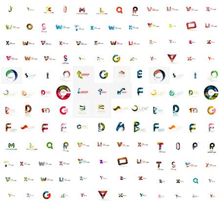 logos de empresas: Mega conjunto de logotipos geomeric empresa. Elementos de diseño de marca de negocios corporativos