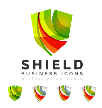 Set of protection shield logo concepts. Color flowing wave design icons on white Stock Illustratie