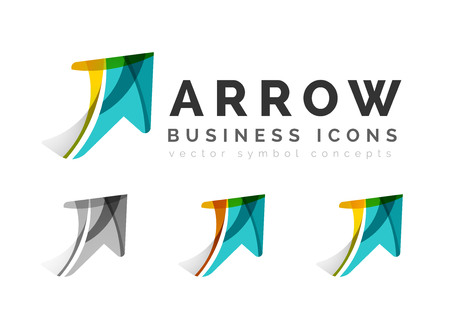 swirls: Set of arrow logo business icons. Created with overlapping colorful abstract waves and swirl shapes