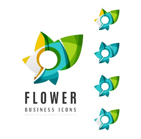 abstract rose: Set of abstract flower logo business icons. Created with overlapping colorful abstract waves and swirl shapes Illustration