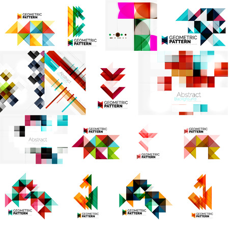 swirl patterns: Set of various universal geometric layouts - backgrounds banner advertising layouts - templates, identity. Square, triangle, wave circle or swirl shape design Illustration