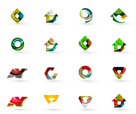 green arrow: Set of various geometric icons -  rectangles triangles squares or circles. Made of swirls and flowing wavy elements. Business, app, web design logo templates.