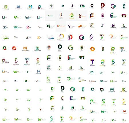 logos de empresas: Mega conjunto de geomeric logotipos de empresa carta. Elementos de diseño de marca de negocios corporativos Vectores