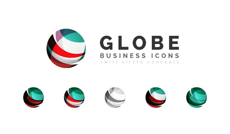 digital design: Set of globe sphere or circle logo business icons. Created with overlapping colorful abstract waves and swirl shapes