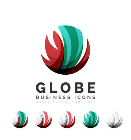 business globe: Set of globe sphere or circle logo business icons. Created with overlapping colorful abstract waves and swirl shapes