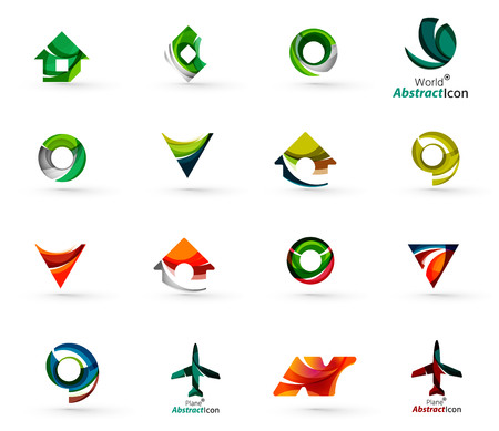 Set of various geometric icons -  rectangles triangles squares or circles. Made of swirls and flowing wavy elements. Business, app, web design logo templates.