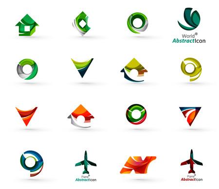 case colorate: Insieme di varie icone geometriche - rettangoli Triangoli quadrati o cerchi. Fatto di turbinii e scorre elementi ondulati. Affari, app, web modelli di progettazione del logo.