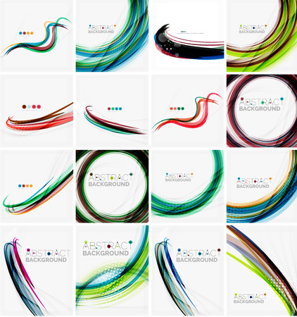 whirl: Set of abstract backgrounds. Circles, swirls and waves with copyspace for your message. Banner advertising layouts - templates, identity and wallpapers