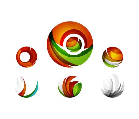 circl: Set of globe sphere or circl business icons. Created with overlapping colorful abstract waves and swirl shapes