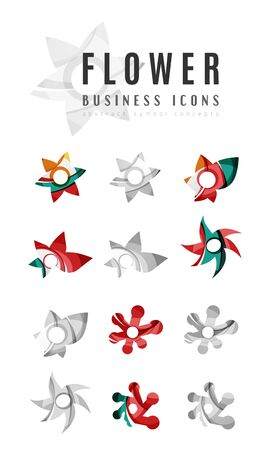 beauty spa: Set of abstract flower logo business icons. Created with overlapping colorful abstract waves and swirl shapes Illustration
