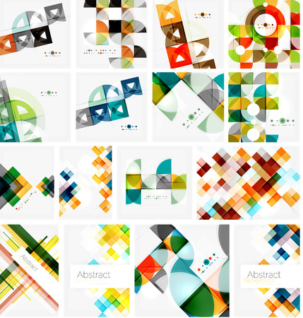Set of triangle geometric abstract backgrounds. Universal business or technology templates, banners, identity layouts