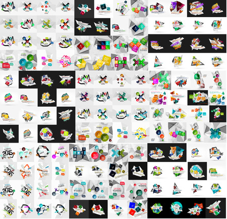 slogans: Mega collection of infographic. Geometric paper style colorful layouts with options and slogans Illustration