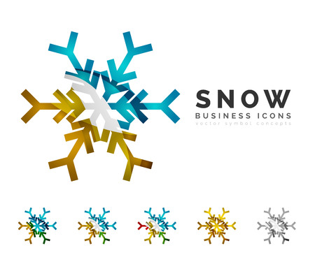 clean: Set of abstract colorful snowflake logo icons, winter concepts, clean modern geometric design. Created with transparent abstract lines