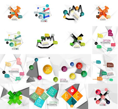 banner effect: Set of abstract geometric paper effect infographic banner templates. Business presentations, backgrounds, option infographics or advertising banner layouts