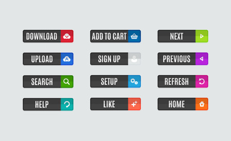 previous: Set of modern flat design website navigation buttons. Rectangle shape. Help like search download upload setup sign up add to cart next previous refresh home icons Illustration