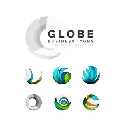 wereldbol: Set van globe bol of cirkel logo business pictogrammen. Gemaakt met overlappende kleurrijke abstracte golven en krul vormen Stock Illustratie