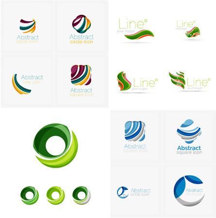 logotipo de construccion: Formas geométricas abstractas universales - emblemas empresariales. Creado con elementos superpuestos onduladas, diseño moderno que fluye limpia