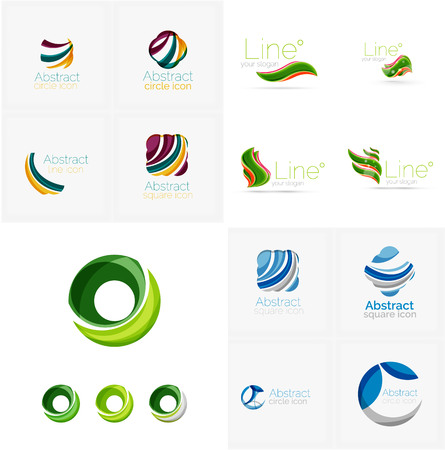 wave crest: Universal abstract geometric shapes - business emblems. Created with wavy overlapping elements, clean flowing modern design
