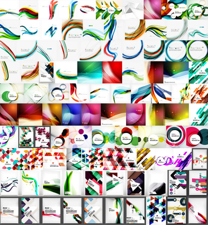 curve line: Mega collection of geometric abstract backgrounds.Modern futuristic designs. Universal for presentations, web or app covers, print templates