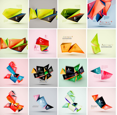 objects: Set of triangle geometric 3d forms. Modern info banner abstract backgrounds, message presentations or identity layouts