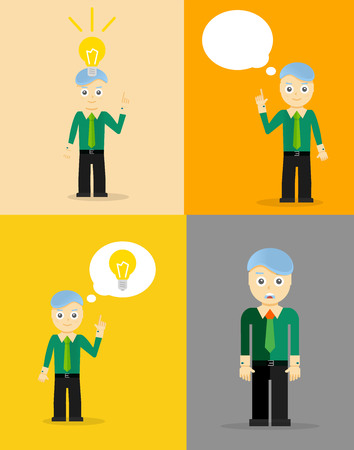 businessman thinking: Young businessman thinking of his ideas. Set of flat design concepts. Vector illustration
