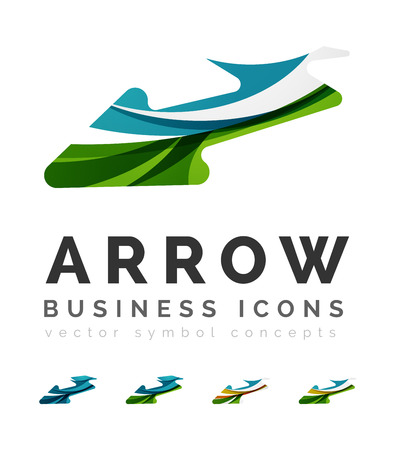 Set of arrow logo business icons. Created with overlapping colorful abstract waves and swirl shapes Stock Vector - 44820007