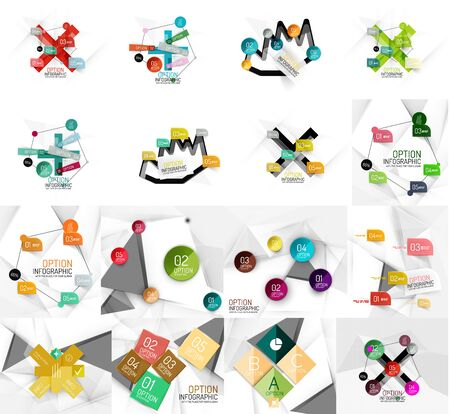 banner effect: Set of abstract geometric paper effect infographic banner templates.  Illustration