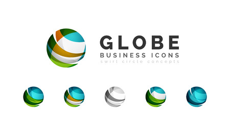 digital globe: Set of globe sphere or circle  business icons. Illustration