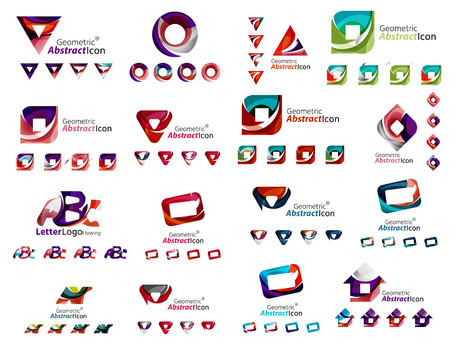 any: Mega collection of various abstract business emblems. Universal icon set for any idea concepts geometric shapes loops, circles, triangles and letters