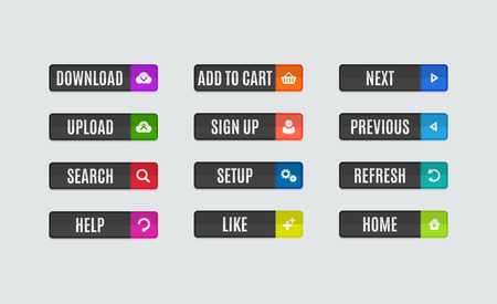 navigation buttons: Set of modern flat design website navigation buttons. Rectangle shape. Help like search download upload setup sign up add to cart next previous refresh home icons Stock Photo