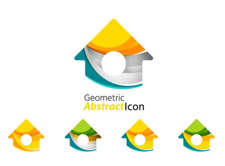 house construction: Set of abstract geometric company logo home, house, building. Vector illustration of universal shape concept made of various wave overlapping elements