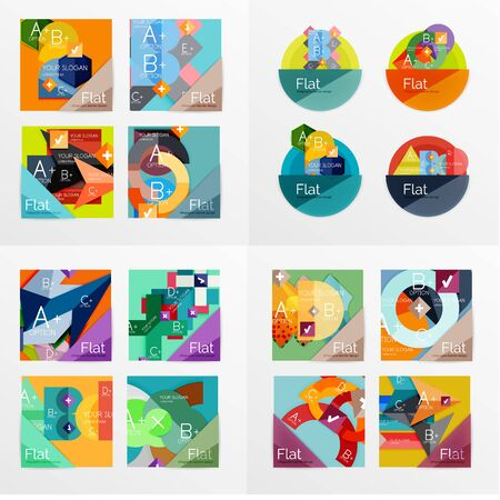 workflow: Modern geometric design temlates for universal diagrams, presentation banners, number options and workflow layouts. Vector illustration